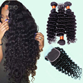 Brazilian Deep Curly Hair With Closure 7a Brazilian Hair 3 Bundles With Closure Virgin Human Hair With Closure