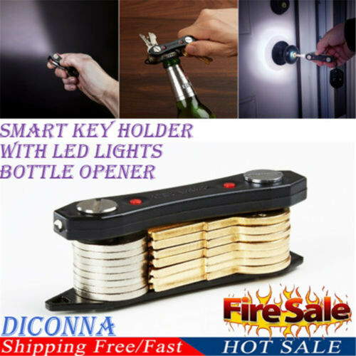 Smart Key Holder Compact Keychain Organizer With LED Lights Bottle Opener