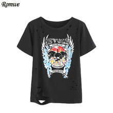 ROMWE Black Skull Pattern T-shirt, 2017 Summer Beach Rock Party Women Tops,Print Woman Fashion Round Neck Short Sleeve Ripped