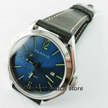 Parnis 43mm 21 jewels MIYOTA 821A Automatic Blue Dial Sapphire glass Miyota 821A Automatic luminous hands Men\'s watch