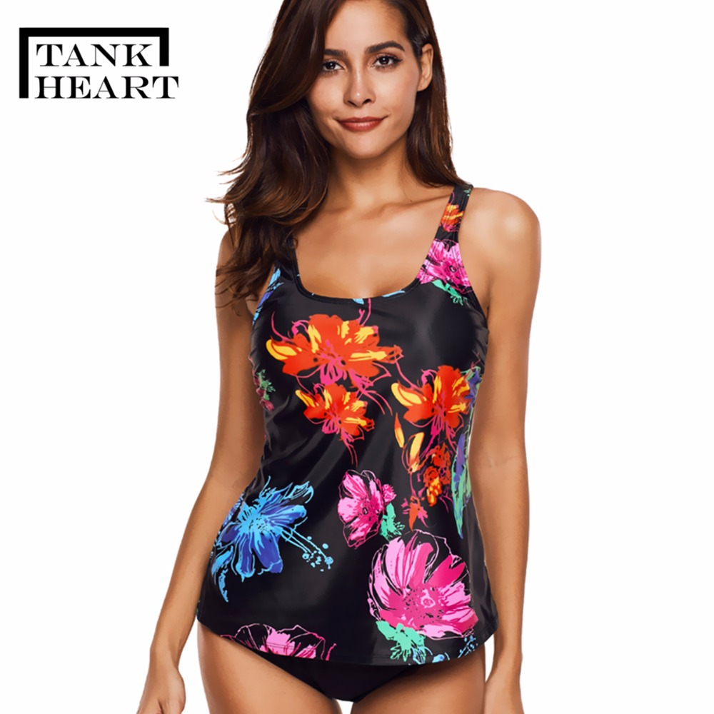 все цены на Tank Heart Floral Plus Size Swimwear Women Push up Bikini Set Tankini Set Two Piece Swimsuit for girl badpak Bathing Suit L-5XL