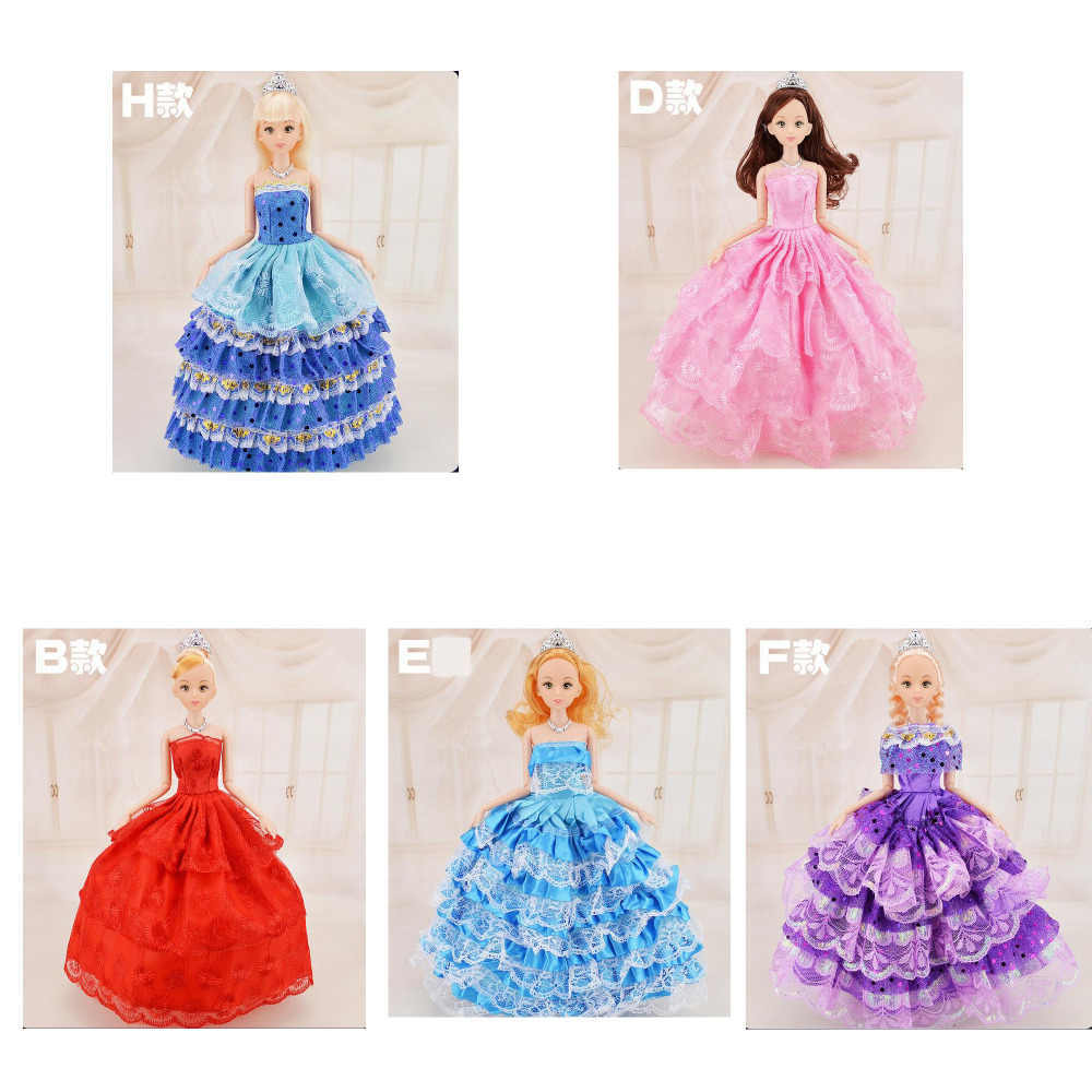 New Coming! Wedding Dress Fashion Princess Dolls Best Girls Gift Moveable 12 Joint Plastic Body Dolls