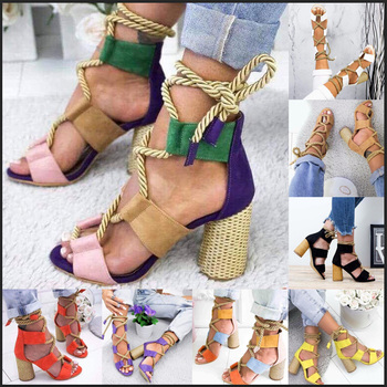 2020 New Women Sandals Shoes Celebrity Wearing Mixed Colors Style Clear Colorful Strappy Sandals High Heels Shoes Mid Heel Shoes 6