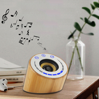 2019 New Design mini portable Round Wooden Case mobile phone Wireless bluetooth Speaker Channel Audio Stereo