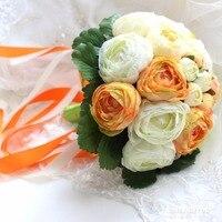 Искусственный Пион Свадебный букет невесты цветами в руках дешевые свадебный букет желтый цветок Белый и зеленый цвета Бесплатная доставк...