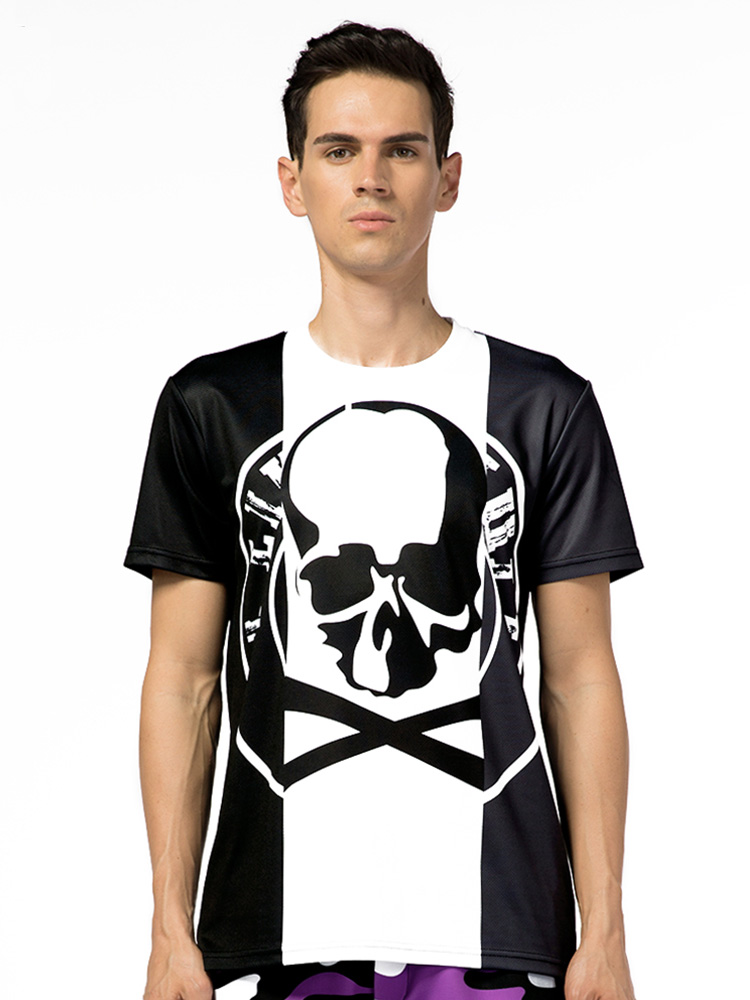 Impression Anti Respirant peluche Marque Hommes Anti D'été Dxt18 Manches Courtes À Tendance Casual 3d Mogai shirt Mode Crâne T décoloration 7wqTtTgP