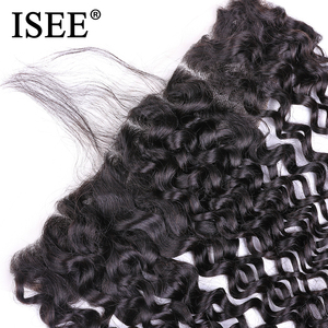 Image 4 - ISEE HAIR Brazilian Deep Wave Frontal Lace Closure With Baby Hair 100% Remy Human Hair Extensions 13*4 Hand Tied Hair Extension