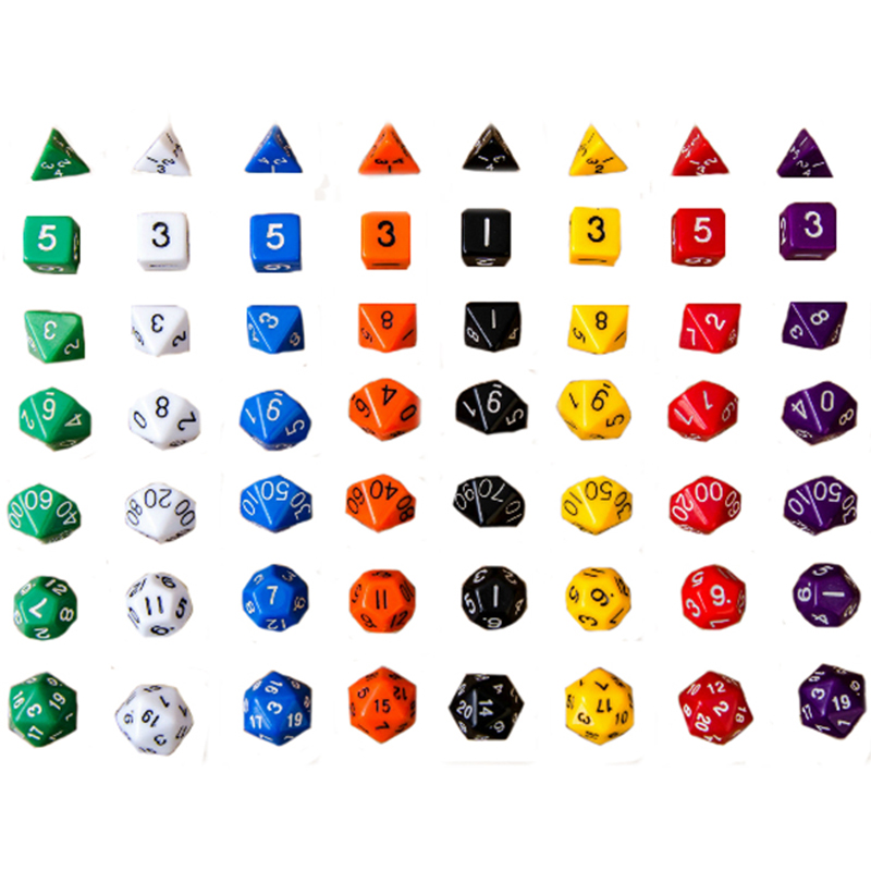 7pcs / set 20 Warna Digital Dadu Set - Dadu akrilik TRPG DND dadu Game RPG Dadu berkualitas tinggi