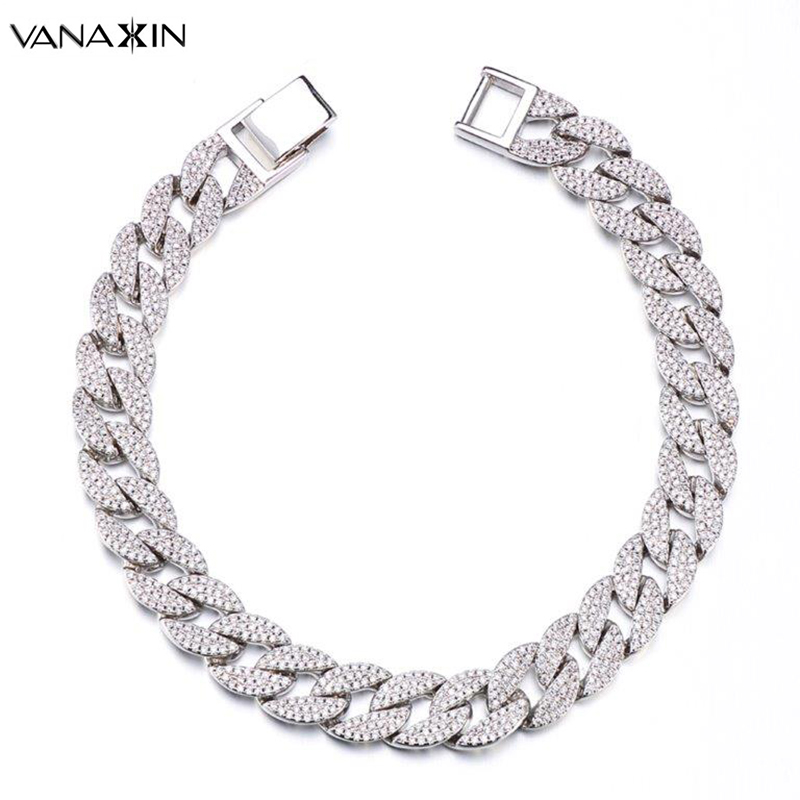 VANAXIN Mens Bracelet Hiphop Iced Out Cuba Chain Silver Color Micro Paved CZ Clear Rhinestones High Quality 9'' Bracelet Jewelry