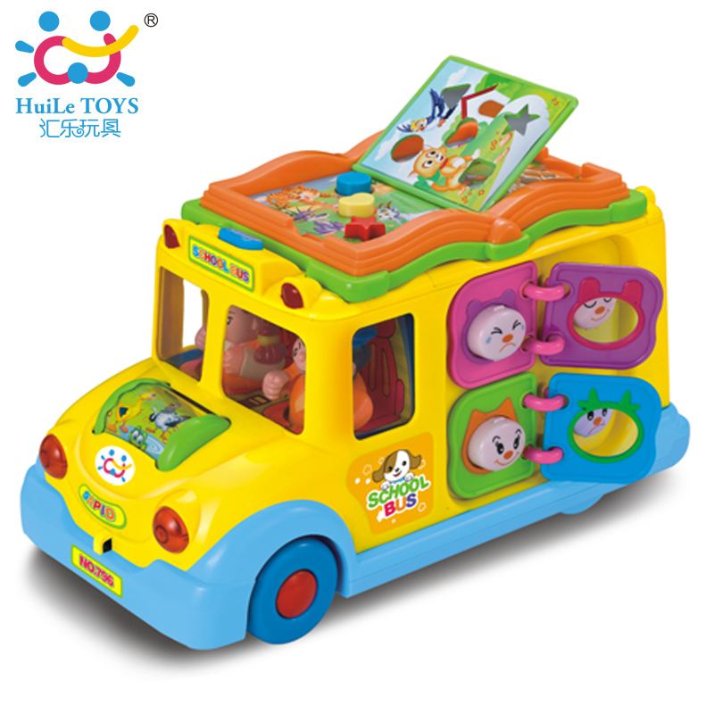 Electric School Bus, Children Music Car Including 8 Games, Car Horn Songs Animal Calls, Early Educational Toys for Children Gift