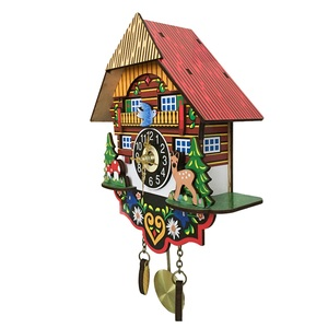 Image 5 - Hot Silent Cuckoo Wall Clock, Yellow European Style Living Room Vintage Wall Clock precise