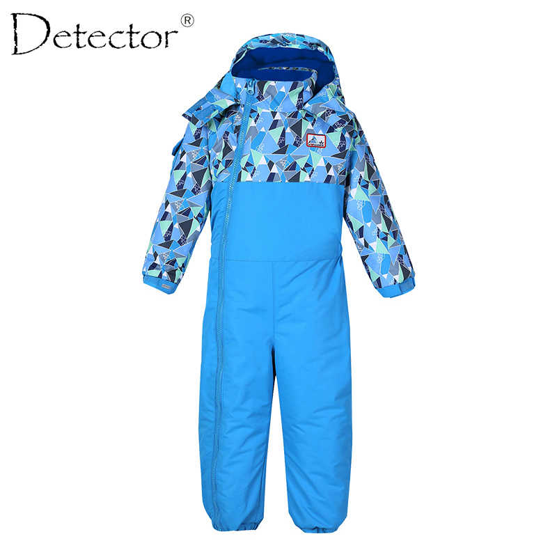 Detector Baby Boy Girl Ski Suit Waterproof Windproof Ski snowboard Bid Thermal Kid Hooded One-piece Children Clothing 1-3 years
