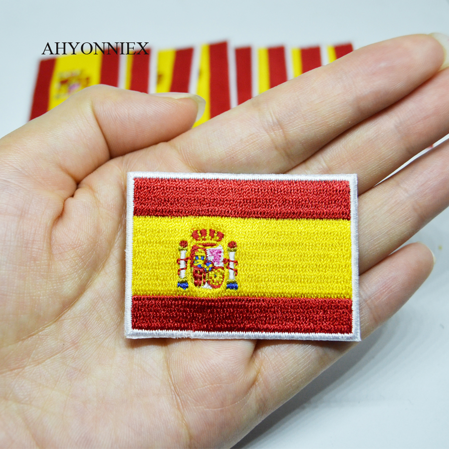 10PCS/Lot High Quality Spain Embroidery Flag Patch Army Iron On Country Flag Patches Badges For Clothes Stickers Jeans Applique(China)