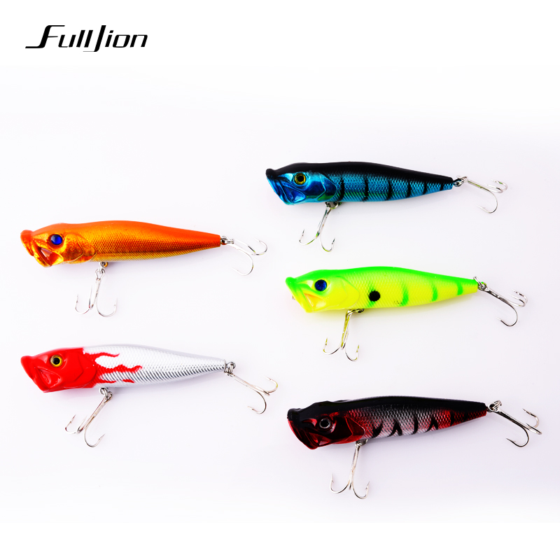 1pcs fishing lures popper lures wobbler hard bait treble for Fly fishing lures