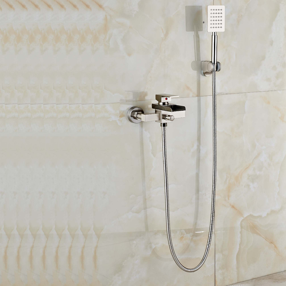 цена на Newly Wall Mounted Brushed Nickle Bathtub Faucet W/ Brass Hand Sprayer Shower Tub Mixer Faucet