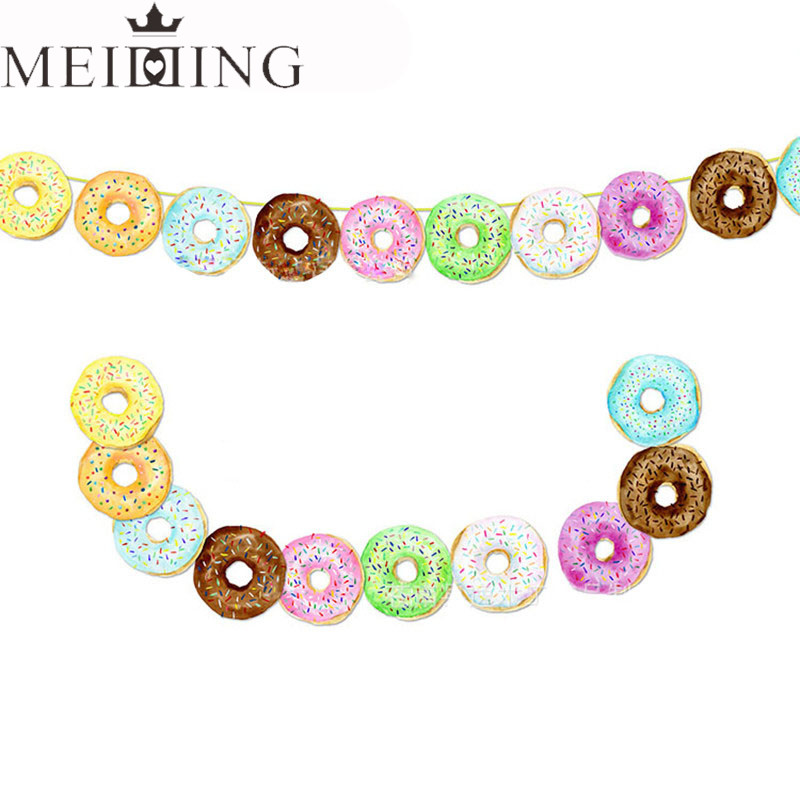 MEIDDING 10pcs/lot Lovely Donuts Banner Garland Wedding Decor Birthday Party Baby Shower Pool Party Decorating Supplies
