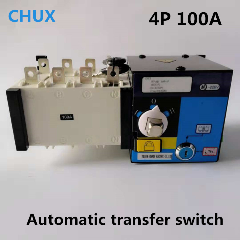 Dual Power Automatic Transfer Switch 4P 100A 3 Phases PC Grade 380v Circuit Breaker Isolation type ATS