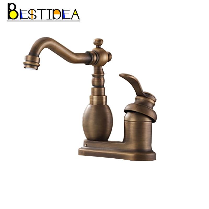 360 Swivel Antique Brass Single Handle Deck Mounted Basin Mixer Tap Brass kitchen Faucet Bathroom Basin