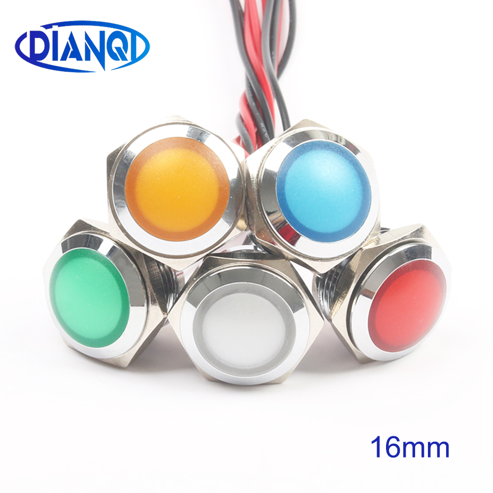 LED Metal Indicator Light 16mm Waterproof Signal Lamp LIGHT 3V 6V 12V 24V 220v Screw Connect Red Yellow Blue White 16ZSD.QX.X