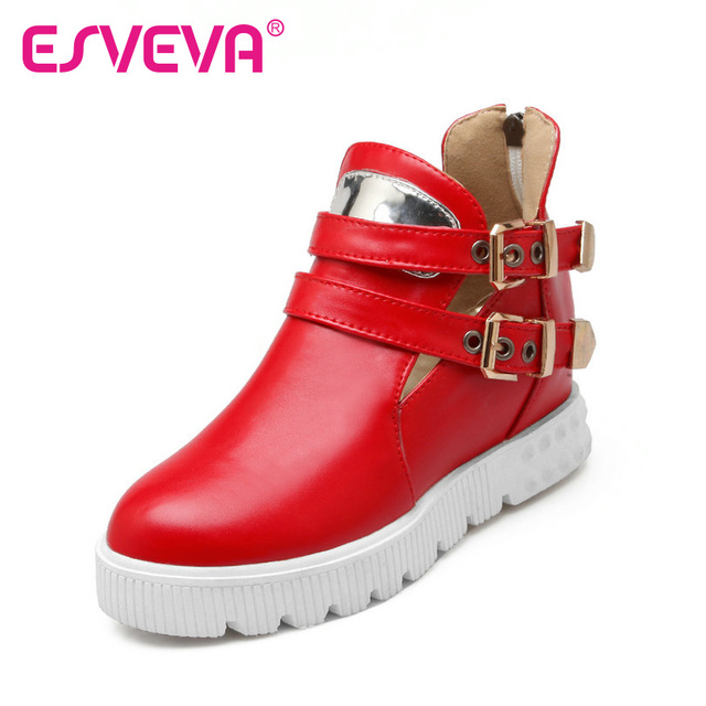 ESVEVA  Zipper Platform Buckle Strap Round Toe Women Pumps Pu Soft Leather Solid Spring/Autumn Miss Party Shoes Size 34-39 Red