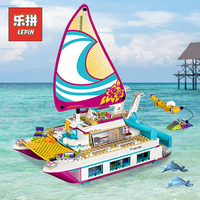 Lepin 01038 Friends Boat Sunshine Catamaran 01044 Dolphin Cruiser Compatible Legoinglys 41317 41015 Building Blocks Friends Toys