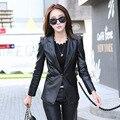 Корейский Тонкий осень новый женский короткий параграф PU кожаное пальто V-образным Вырезом ударил цвет пальто костюмы Pitsea