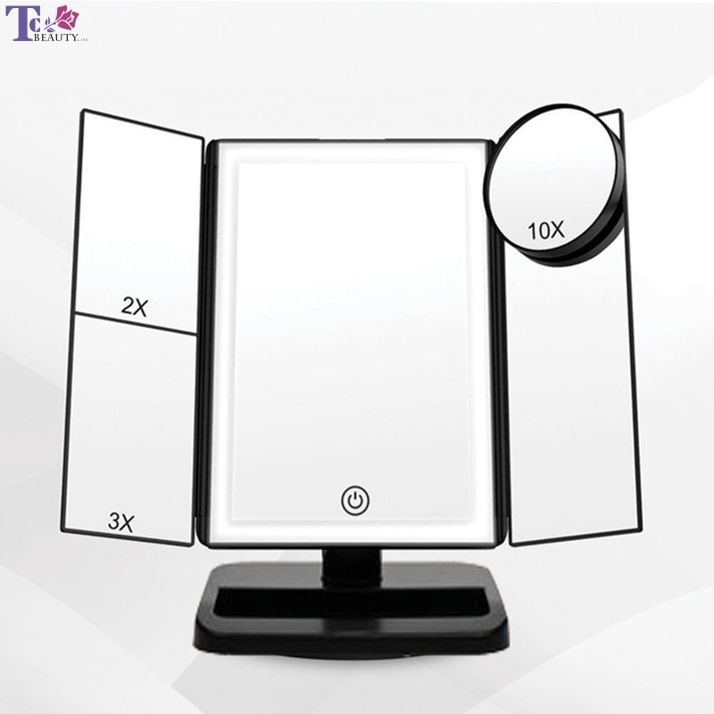 22 Led Light Press Screen Makeup Mirror Desktop Bright Adjustable Makeup Mirror Desktop Table Lamp Rotatable Makeup Mirro A Wide Selection Of Colours And Designs Lights & Lighting