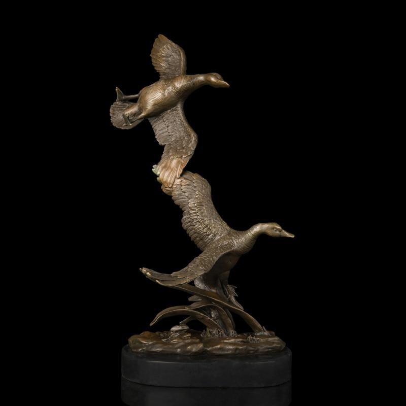 Arts Artisanat Cuivre Jardin décor statues bronze animaux sculpture double canards bronzes statues de jardin en métal décoration sculpture c