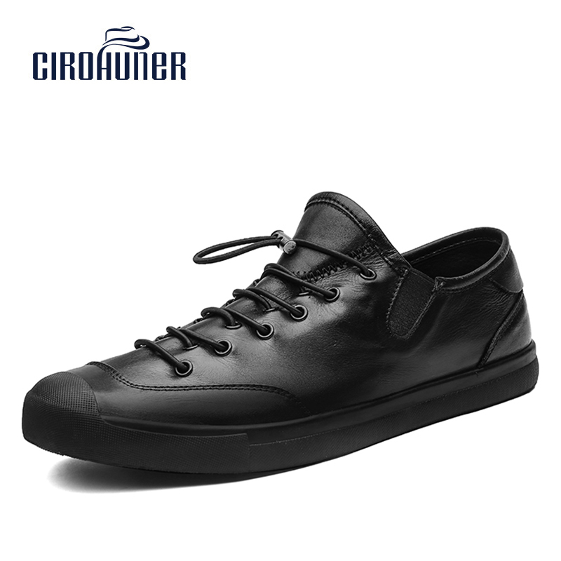CIROHUNER New Fashion Genuine Leather Shoes Men Winter Bussiness Handmade Black Leather Lace-upCasual Shoes Men size 38-44 new men fashion drees shoes genuine