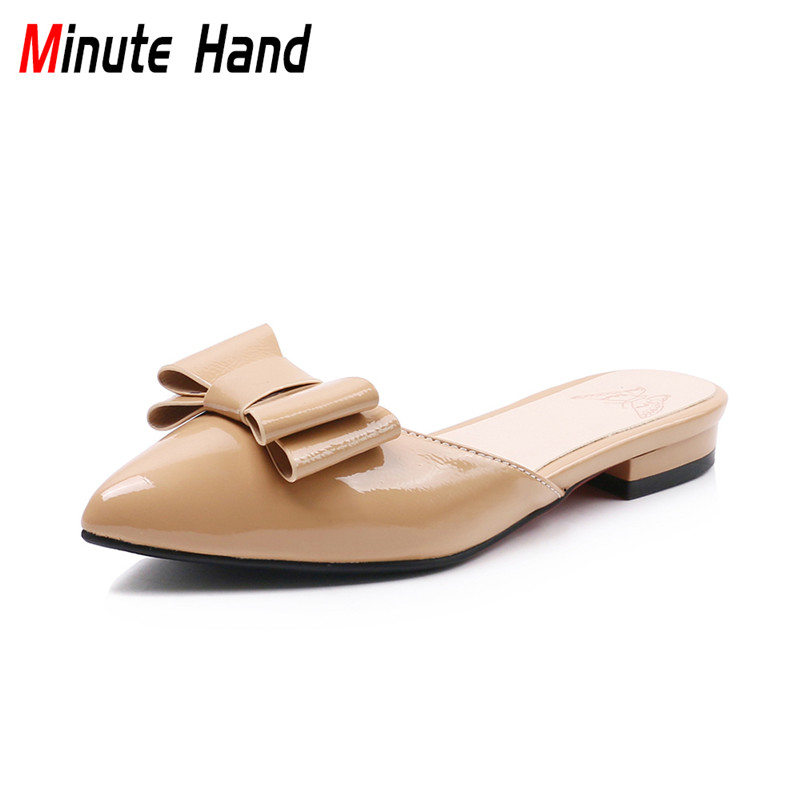 Minute Hand New Fashion Women Sweet Butterfly Knot Mules Low Heels Slippers Pointed Toe Slides Women Summer Shoes Big Size 32-43