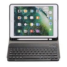 Hmsunrise Съемный беспроводной Bluetooth клавиатура чехол для apple ipad 9,7 2017 планшет A1822 A1823 карандаш держатель сенсорная ручка для хранения