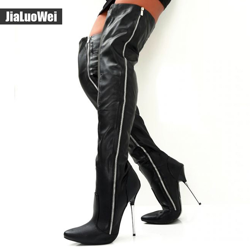 Women Fashion PU Leather Pointed Toe over the knee boots Ladies Autumn winter High heels boots Sexy thigh high boots botas mujer new women knee high boots black and white sexy low heels pu leather autumn winter shoes round flat platform boots botas mujer