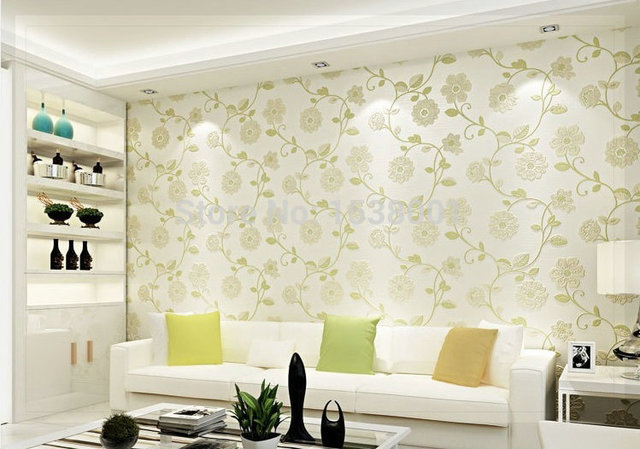 european simple wallpaper green leaf design non woven wallpaper rh aliexpress com
