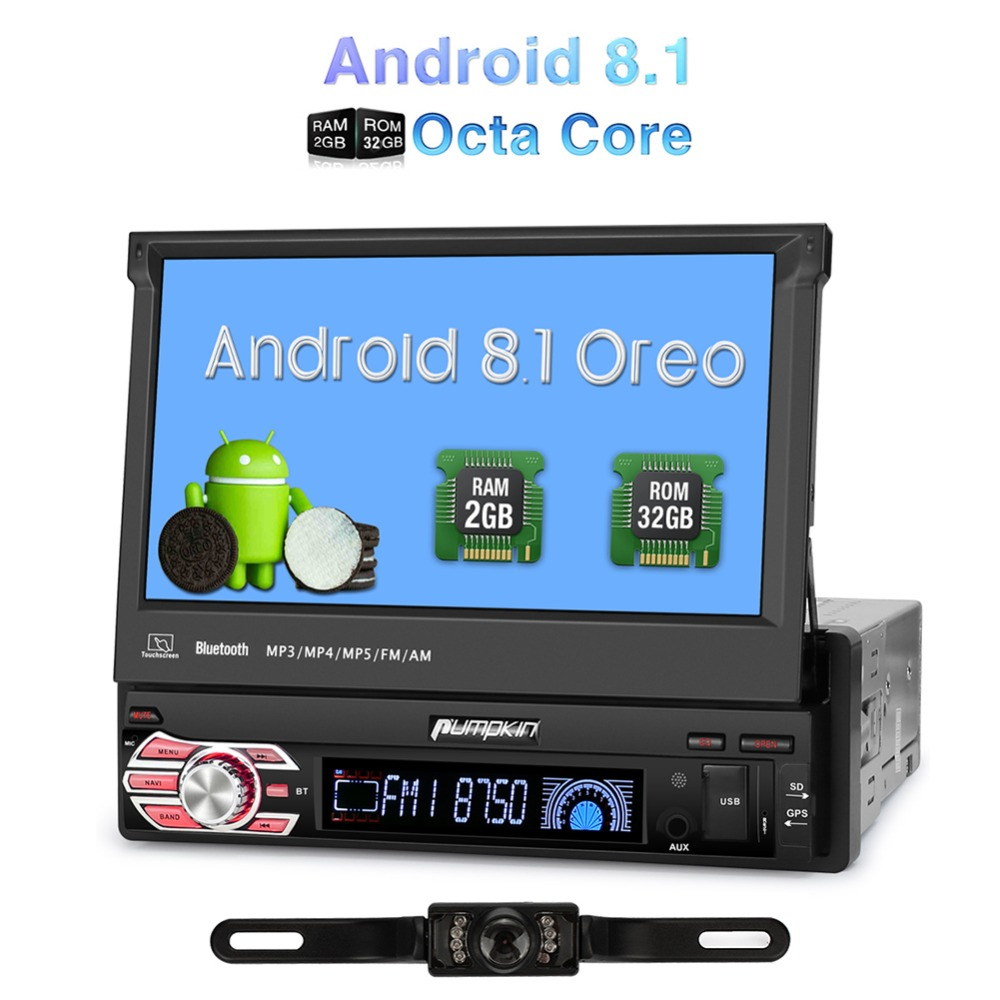 Citrouille 1 Din 7 ''Android 8.1 Voiture Radio Aucun Lecteur DVD GPS Navigation Octa Core Voiture Stéréo 2 GB RAM FM Rds Wifi 3G DAB + Headunit