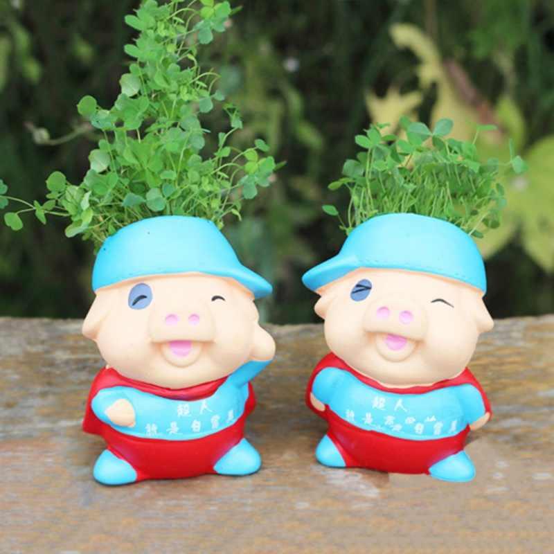 Micro potted เซรามิคคู่กบพิมพ์โลโก้น่ารักเดิมนิเวศวิทยา DIY หญ้ายาวหัวตุ๊กตาโรงงานหัตถกรรมของขวัญ