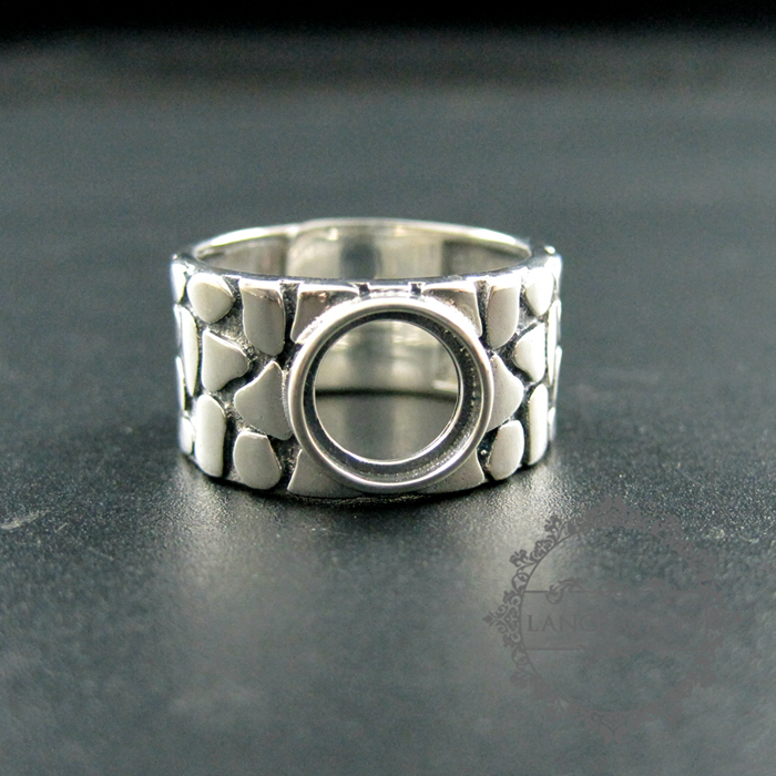 8mm round bezel tray 17 5mm diameter 925 sterling silver solid antiqued silver adjustable DIY ring