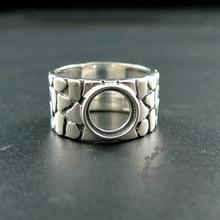 8mm ronda bisel bandeja 17.5mm de diámetro 925 de plata esterlina sólida plata antiqued ajustable anillo de suministros de BRICOLAJE hallazgos 1213034