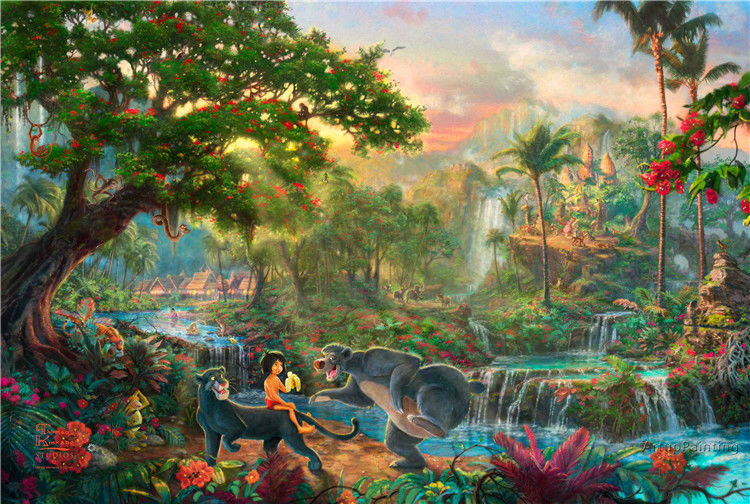 Thomas Kinkade Oil Paintings jungle book Art Decor Painting Print Giclee Art Print On Canvas