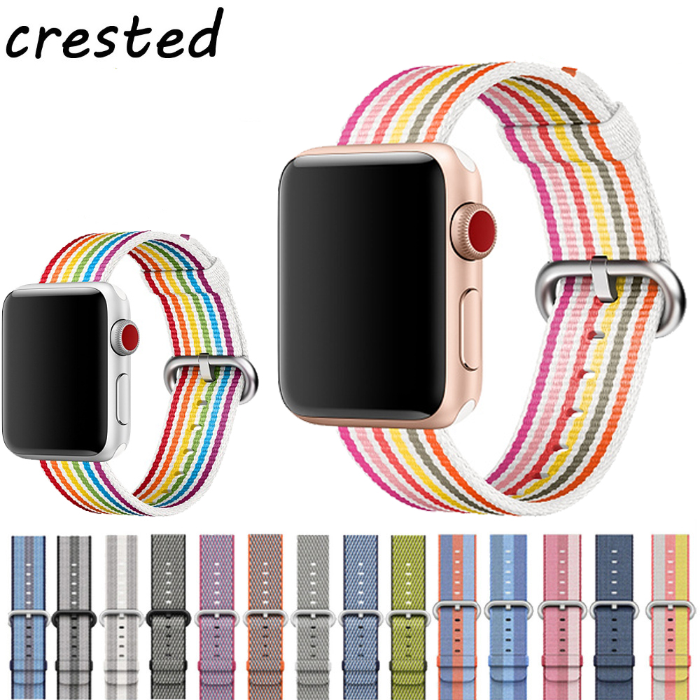 CRESTED Woven Nylon band strap for apple watch band 42mm 38 mm sport fabric nylon bracelet watchband for iwatch 3/2/1 black