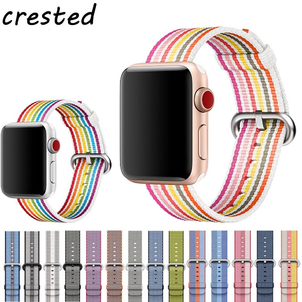 Correa de nailon tejido CRESTED para apple watch band 42mm 38mm sport fabric Nylon pulsera correa para iwatch 3/2/1 negro
