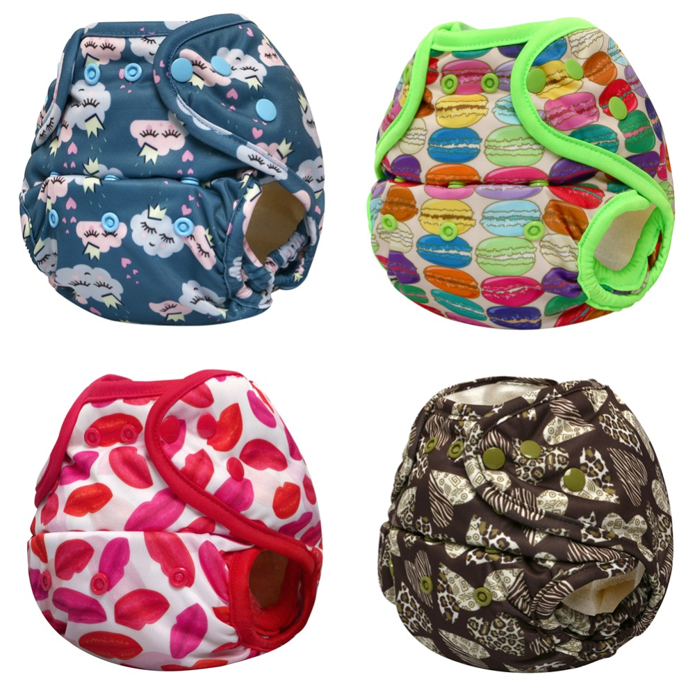 JinoBaby Baby Cloth Diapers Double Gussets Diaper Cover Baby Diapers Pants Pack of 4PCS