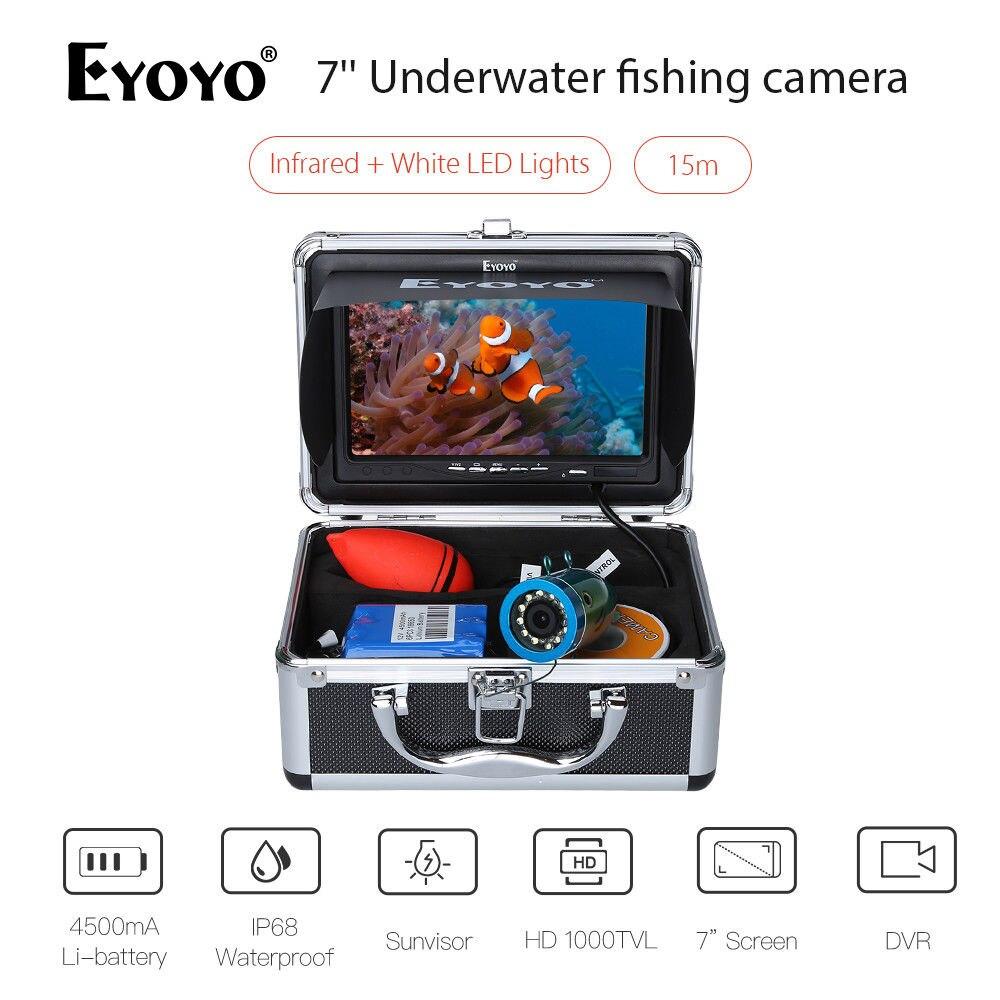 Eyoyo 7 15 m DVR LCD TFT Moniteur Poissons Finder Détecteur IR + Blanc LED Lumières Sous-Marine IP68 De Pêche caméra Night Vision 8 gb Carte