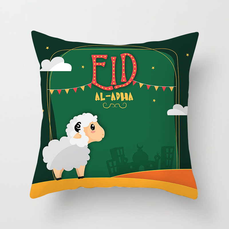 Islamic  Eid al Adha Decorations For Home Pillowcase Eid Mubarak Decor Muslim Mosque Decorative Cotton Cushion Cover 45X45CM
