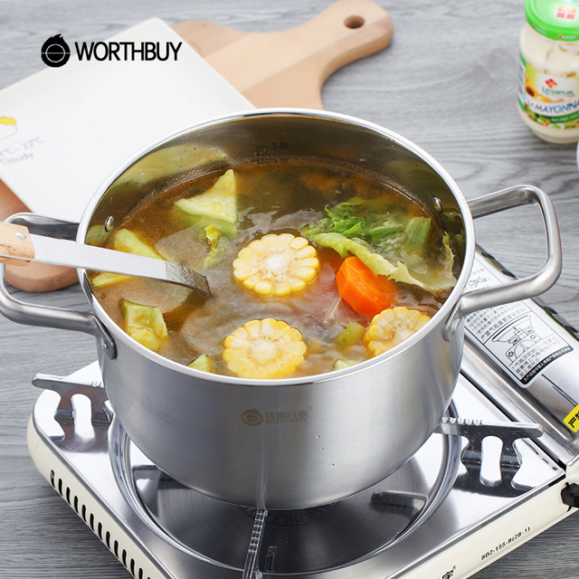 WORTHBUY Multifunctional Stainless Steel Soup Pot Cookware Kitchen Cooking  Stock Pot Induction Cooker Heating Cooking Saucepans