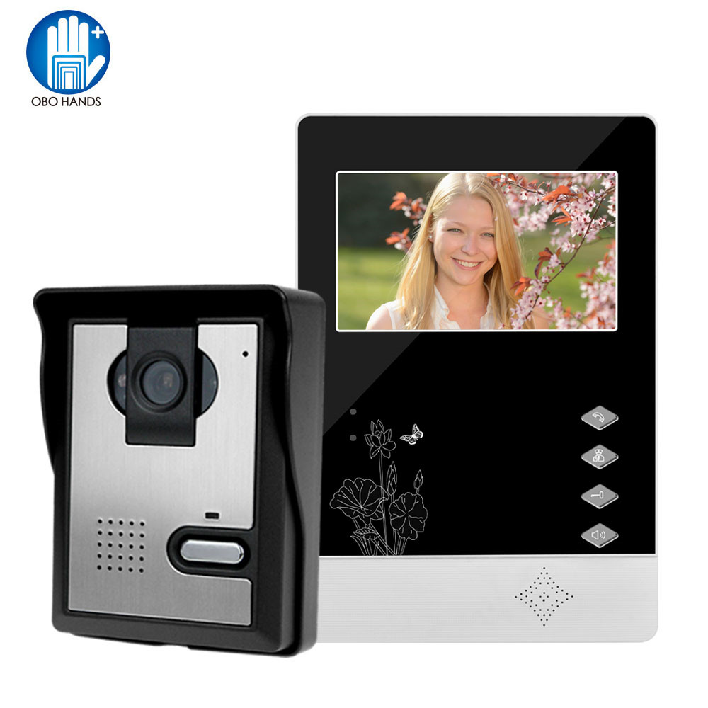 Doorphone 4.3LCD color screen Video doorbell door phone for home Speakerphone Intercom System With Waterproof Outdoor IR Camera