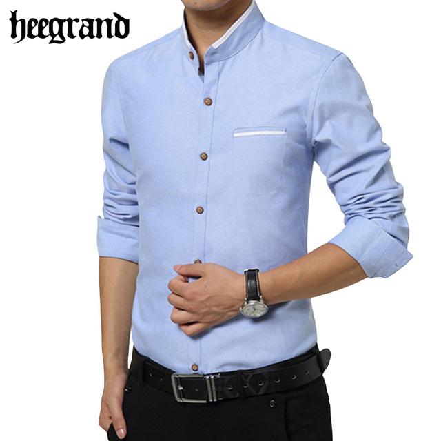Hee grand 2017 outono nova gola mandarim moda quente magro masculino camisa de algodão sólida camisa mandarim mcl1752