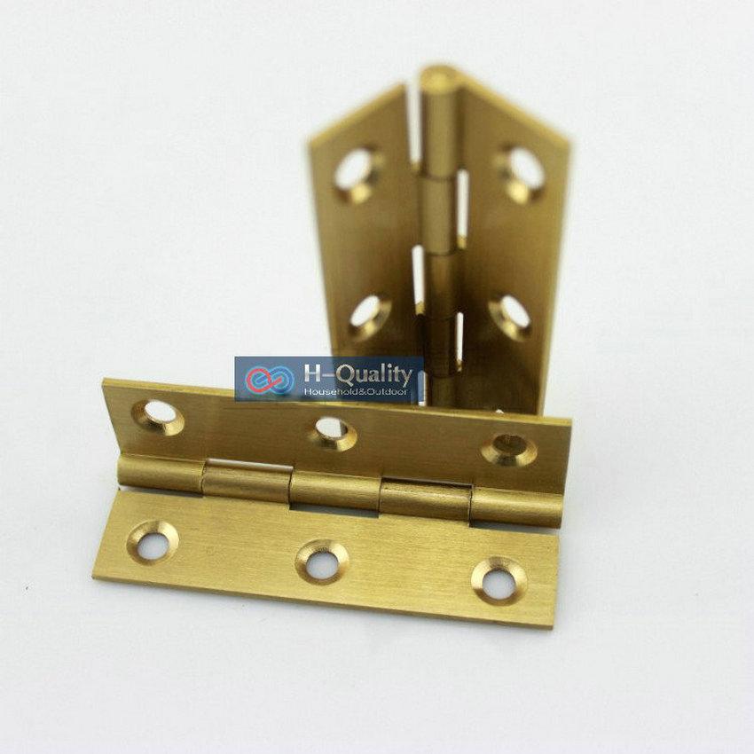Free Brass Screws 10PCS/Lot Door Hardware 1Inch (25MM) Long Solid Brass Small Door Hinge, Wire Drawing Antique Golden Color