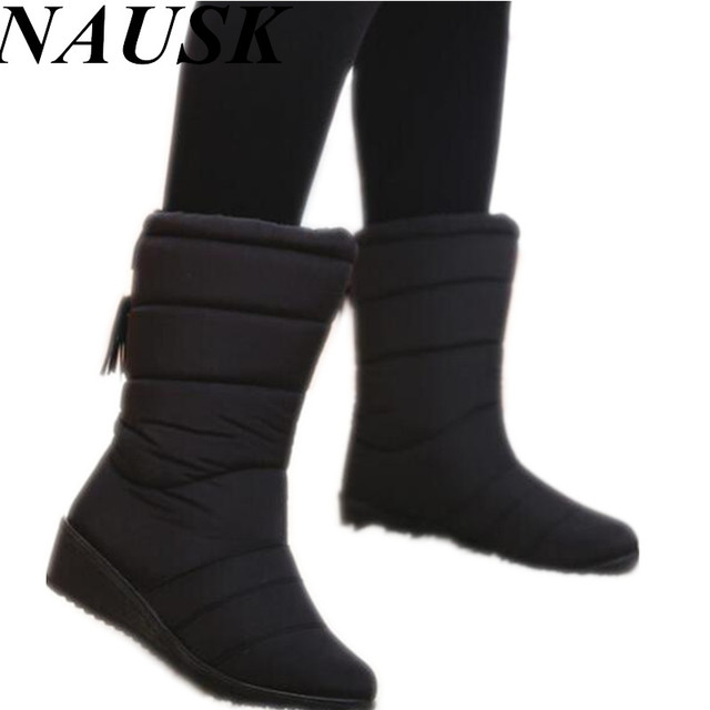 c2a1df8b24ac Winter Women Boots Female Down Waterproof Snow Boots Tassel Mid-Calf Ladies Shoes  Woman Warm Fur Botas Mujer Elastic Band