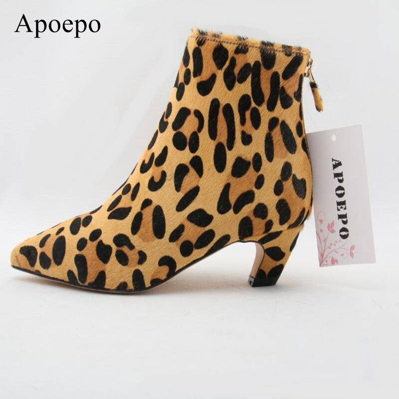 2018 Hot Sale Women Sexy Hoof Heels Slip-On Horsehair Leopard Grain Pumps Lady Pointed Toe Party Leisure Shoes Big Size sexy tassel blade heels women pumps pointed toe metal heels party dress shoes big size 10 slip on office lady shoes free ship