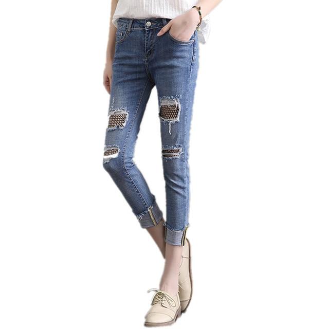 Medias de Rejilla Sexy Mujeres de Costura Denim Jeans de Moda Falsos ...